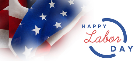 cytosine: Digital composite image of happy labor day text with blue outline against full frame of wrinkled american flag