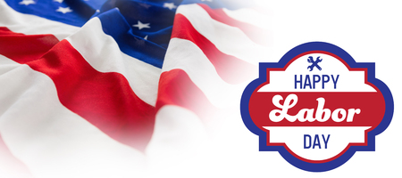 cytosine: Digital composite image of happy labor day banner against full frame of wrinkled american flag