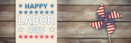 white wood floor: Poster of celebrate labor day text against wood panelling Stock Photo