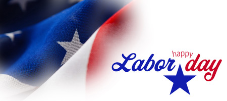Digital composite image of happy labor day text with star shape against full frame of wrinkled american flag