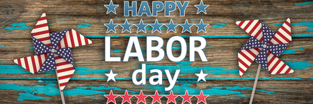 panelling: Happy labor day text with star shape against wood panelling