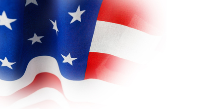 Close-up of American flag with stripes and stars