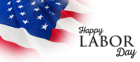 Poster of happy labor day text against full frame of wrinkled american flag