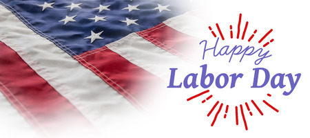 Digital composite image of happy labor day and god bless America text against full frame of wrinkled american flag Stock Photo