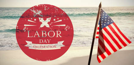 national identity: Illustration of labor day celebration against scenic view of ocean Stock Photo