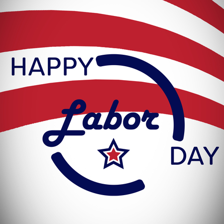 Digitally generated image of happy labor day text and stripes in banner