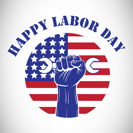 Composite image of happy labor day text over cropped hand holding tools with American flag against white background