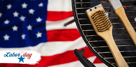 Digital composite image of happy labor day text with star shape against basting brush on barbeque over american flag