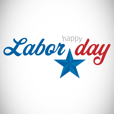 Digital composite image of happy labor day text with star shape against white background