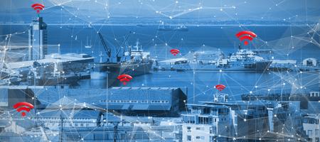 항구의 전망에 대하여 빨간색 wifi 기호