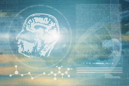digitally generated image: Digitally image of DNA helix and brain interface against clouds and binary coded computer screen