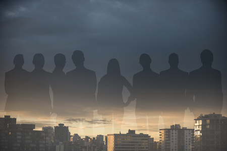 female likeness: Business people standing over white background against city against cloudy sky during sunset