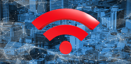 Red wifi symbol against high angle view of crowded buildings in city