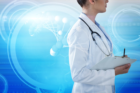 Female doctor holding clipboard and looking away against composite image of abstract backgrounds Stock Photo