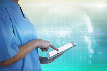 digitally generated image: Midsection of female doctor using digital tablet against turquoise abstract backgrounds Stock Photo