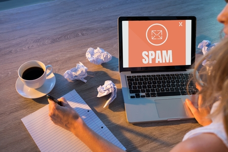 Digital composite of Email spam on the screen