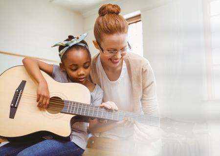 음악 교사와 학생의 디지털 합성물