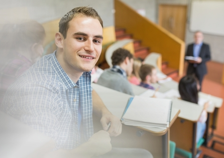 Digital composite of University lecture with student Stock Photo
