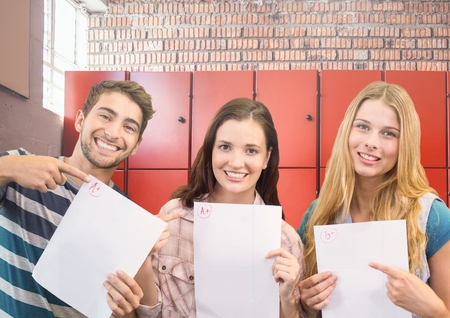Digital composite of students holding exam sheets in front of lockers Stock Photo
