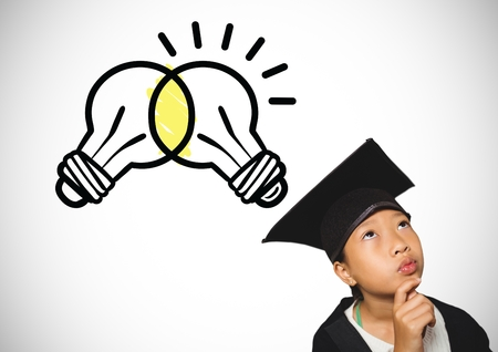 Digital composite of Schoolgirl with graduation hat and light bulbs igniting and clashing together
