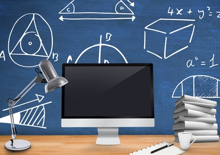 floorboards: Digital composite of Computer Desk foreground with blackboard graphics of mathematical diagrams