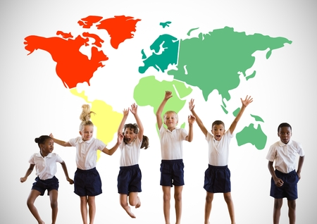 Digital composite of Multicultural Kids jumping in front of colorful world map 版權商用圖片 - 84125467