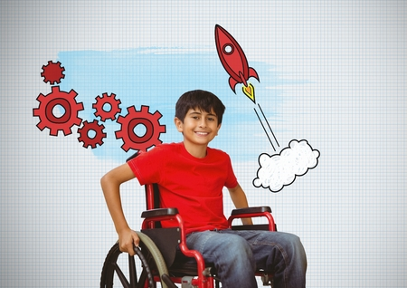 Digital composite of Disabled boy in wheelchair with rocket cogs graphics