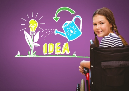 school class: Digital composite of Disabled girl in wheelchair with colorful idea graphics