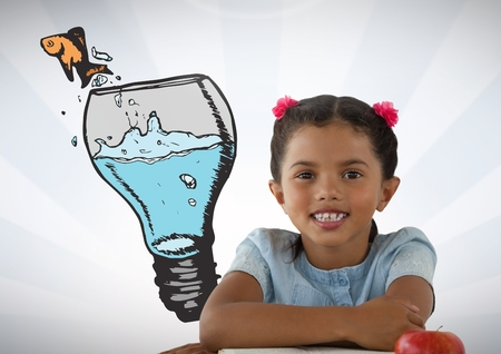 goldfish jump: Digital composite of Girl with idea glass bulb and fish