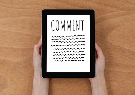 wireless communication: Digital composite of Comment text and graphic on tablet screen with hands