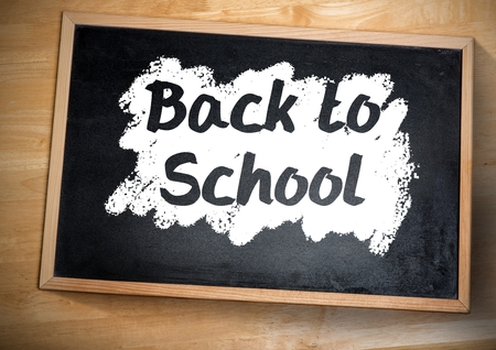 digitally generated image: Digital composite of back to school text on blackboard