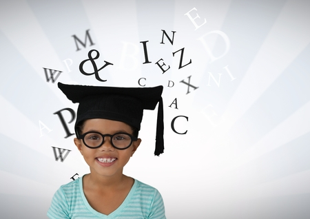 Digital composite of Many letters around Girl with graduation hat and bright streaked background Stock Photo