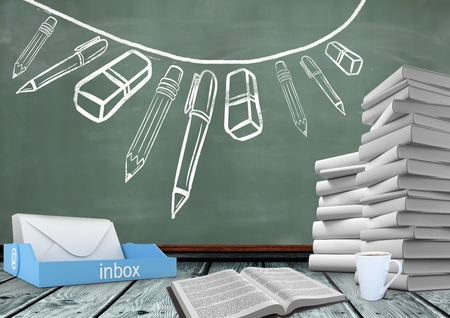 school class: Digital composite of Books on Desk foreground with blackboard graphics of stationery