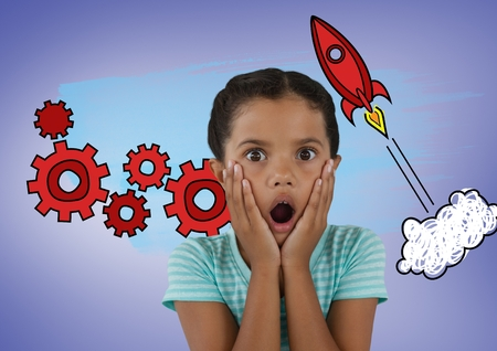 Digital composite of Surprised girl in front of rocket and cog graphics
