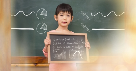 panelling: Digital composite of Little girl holding blackboard with math equations and diagrams