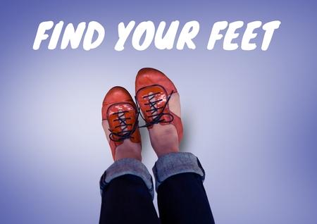 Composite numérique de trouver votre corps texte et chaussures rouges sur des pieds avec fond violet Banque d'images - 83947330