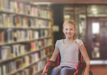 school class: Digital composite of Disabled girl in wheelchair in school library