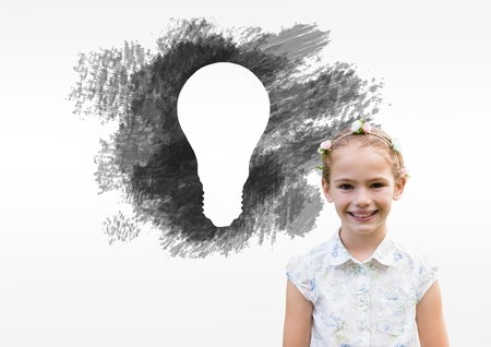 Digital composite of Girl in front of charcoal light bulb