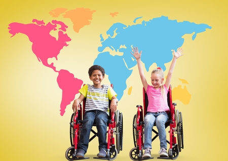 Digital composite of Disabled boy and girl in wheelchairs in front of colorful world map Stock Photo