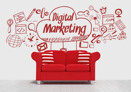 digitally generated image: Digital composite of Digital marketing conceptual graphic on 3D room wall