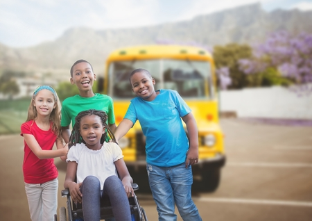 paraplegico: Digital composite of Disabled girl in wheelchair with friends in front of school bus