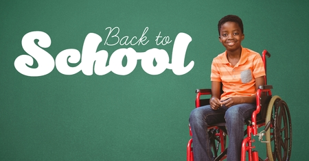 Digital composite of Back to school text on blackboard with disabled boy in wheelchair
