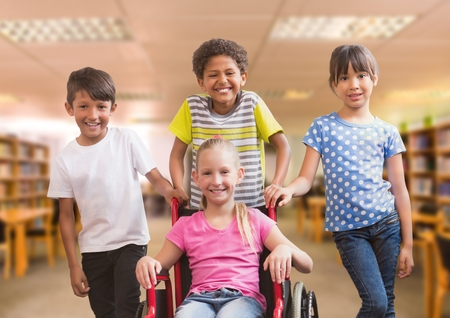 Digital composite of Disabled girl in wheelchair with friends in school library