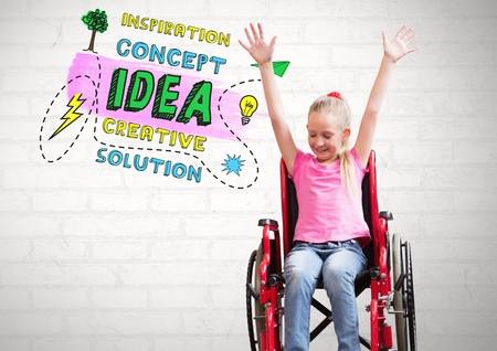 Digital composite of colorful Creative concept idea text and Disabled girl in wheelchair