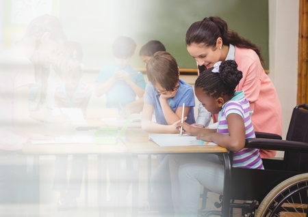 Digital composite of Elementary school teacher with class and disabled girl in wheelchair
