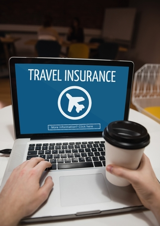 wireless communication: Digital composite of Person using a computer with travel insurance concept on screen Stock Photo