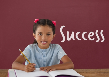 Digital composite of Student girl at table against red blackboard with success text