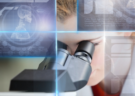 Digital composite of Female Student studying with microscope and science education interface graphics overlay Stock Photo