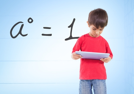 Digital composite of Boy with tablet and formula