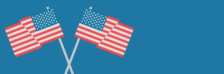 Digital composite of Vector USA flags against blue background